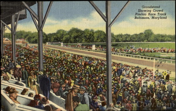 Grandstand Showing Crowd, Pimlico Race Track Baltimore, MD